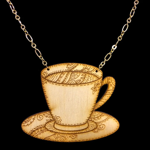 Wood Teacup Necklace