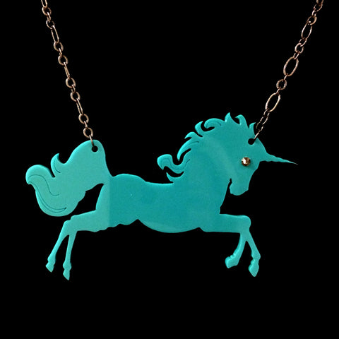 Teal Unicorn Necklace