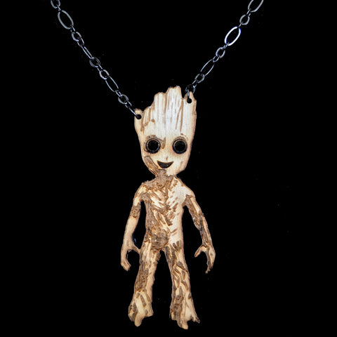 Wood Baby Groot Necklace