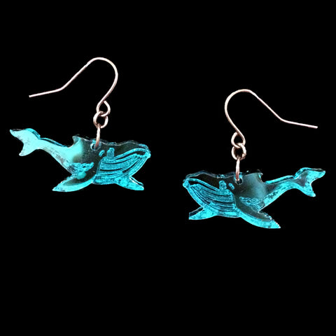 Teal Mirror Whale Earrings
