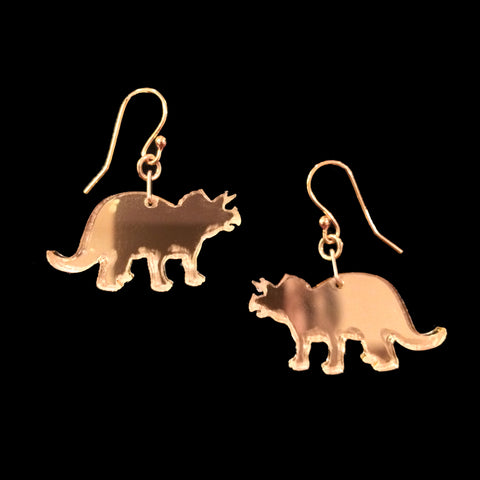 Gold or Silver Mirrored Dino Earrings