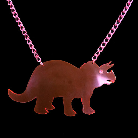 Neon Pink Clear Triceratops Acrylic Necklace