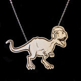 Wood Hipster T-Rex Necklace