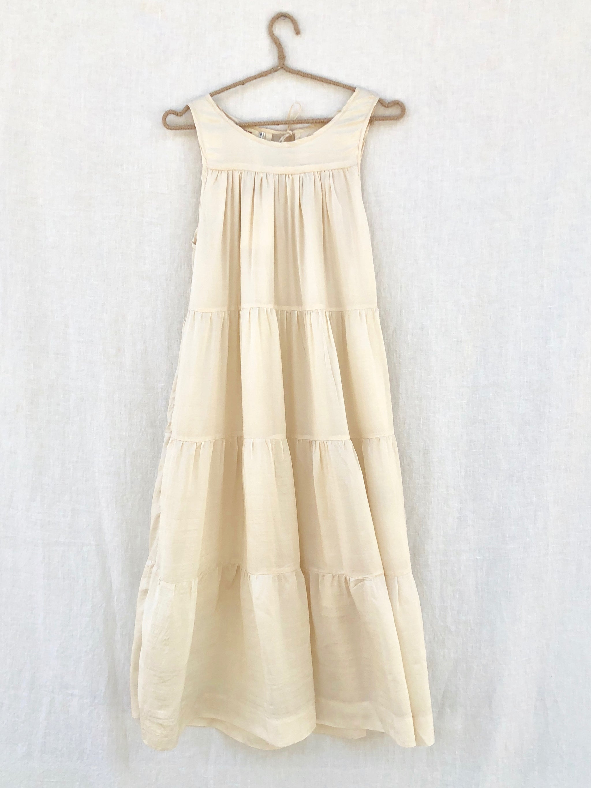 Jill Tiered Silk Sleeveless Dress - Beige