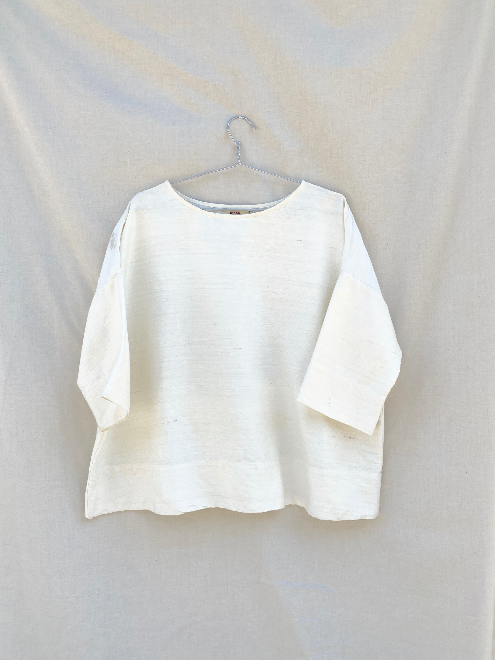 Raw Silk Round Neck Top - Cream