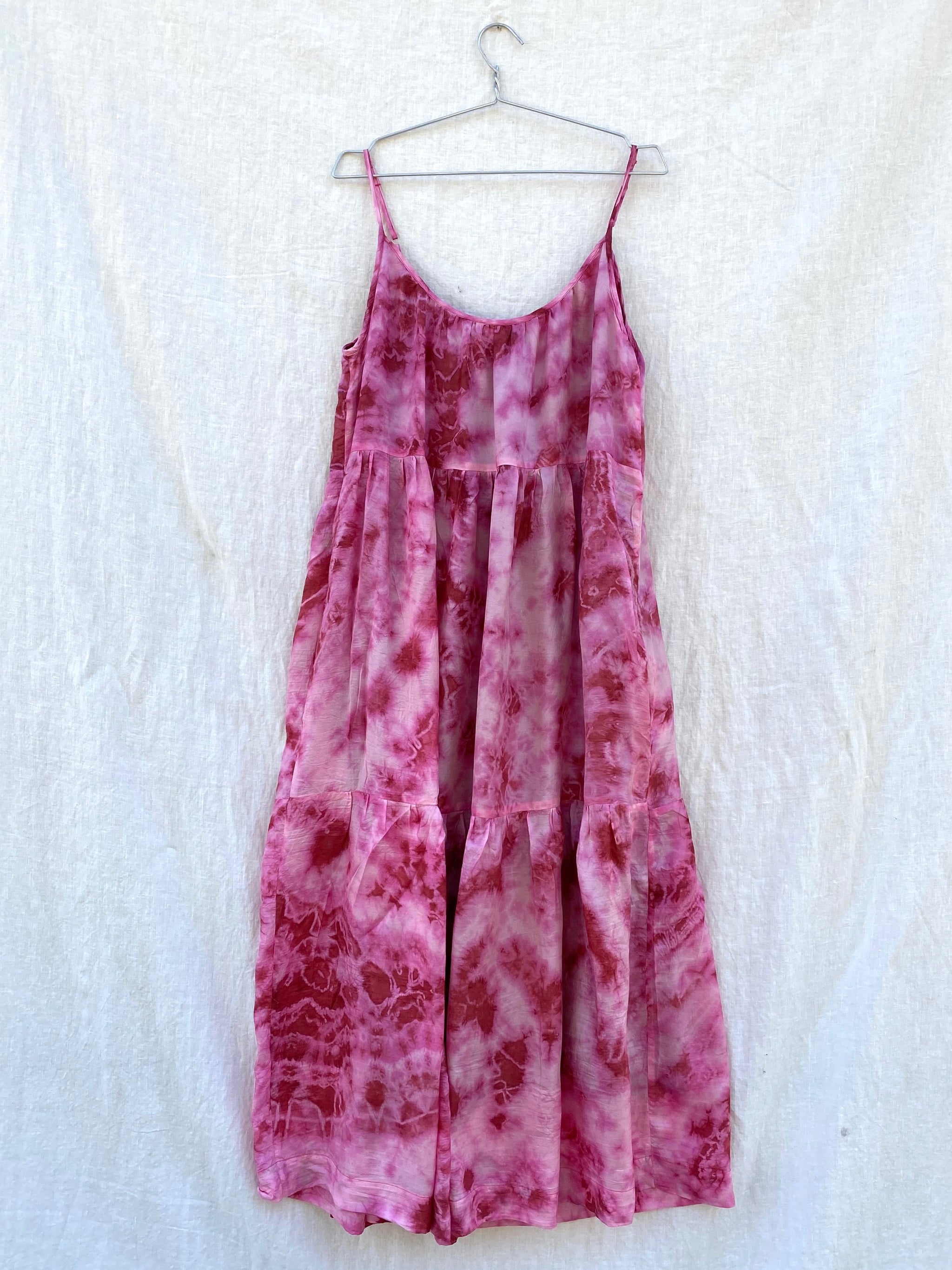 Cate Tie-Dyed Tiered Tank Dress - Pink