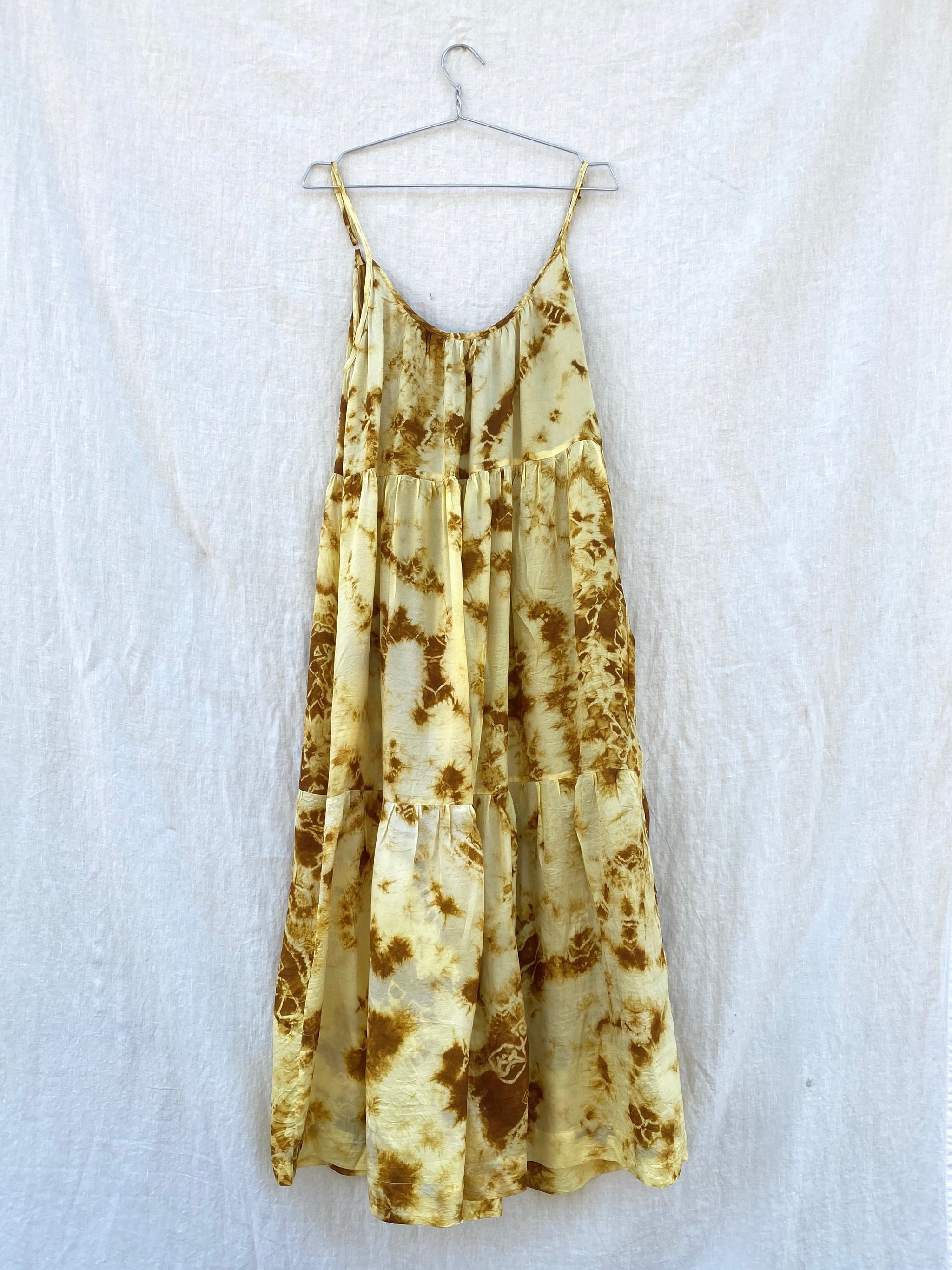 Cate Tie-Dyed Tiered Tank Dress - Yellow