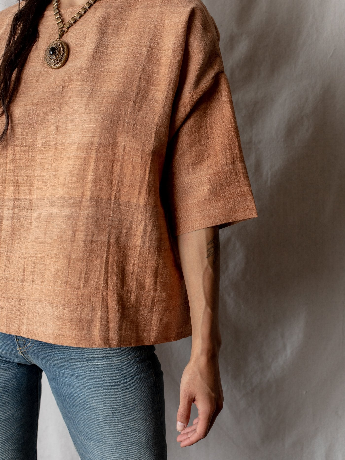Raw Silk Round Neck Top - Rose