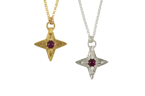 Compass Star Ruby Necklace