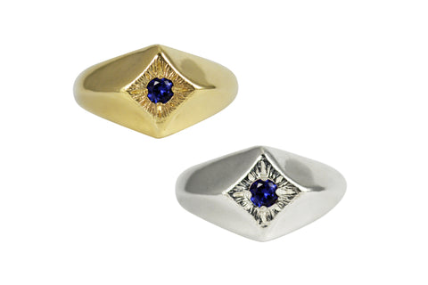 Compass Star Ring with Sapphire