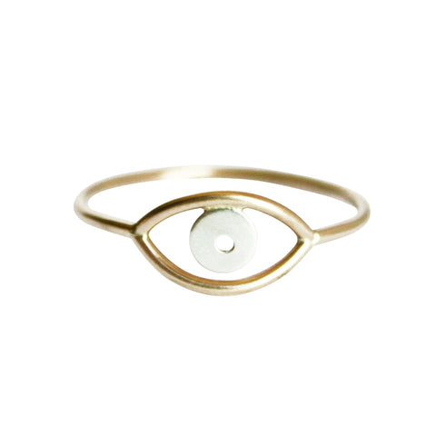 Gold Evil Eye Ring by Stefanie Sheehan Handmade Jewelry