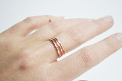 Three rose gold plain bands