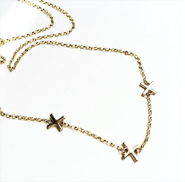 14K gold X necklace