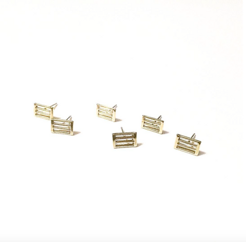 Short Trek Studs by Stefanie Sheehan Handmade Jewelry