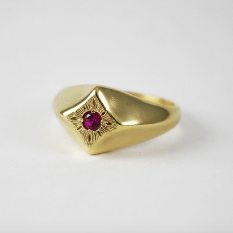 Compass Star Ring with Ruby