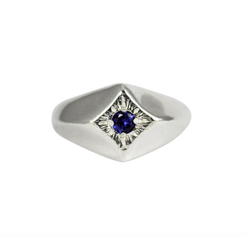 Blue Sapphire Compass Star Ring