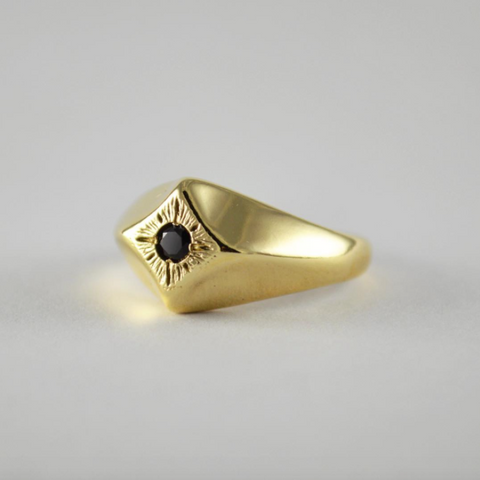 Compass Star Ring with Black Spinel