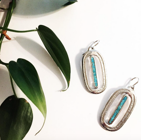Paradise Palm Earrings with Turquoise