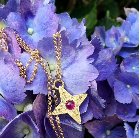 Compass Star Necklace with Ruby
