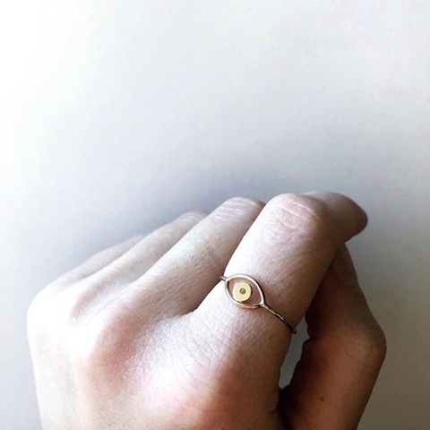 Rose and Yellow Gold Evil Eye Ring