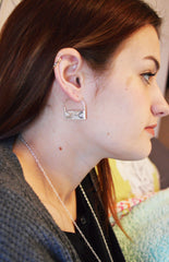 Silver Air Earrings On