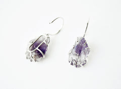 Silver Raw Amethyst Hoops