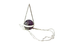 Silver Amethyst Sphere Necklace