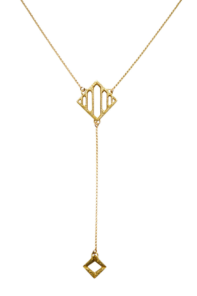 Gold Arcade Lariat Necklace