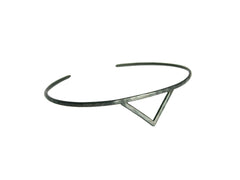 Thin Black Silver Cuff Bracelet with Triangle