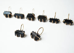 Gold Raw Black Tourmaline Hoops