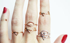 Thin gold and silver rings by Stefanie Sheehan