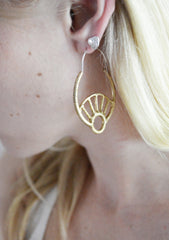 Gold decorative hoop earrings