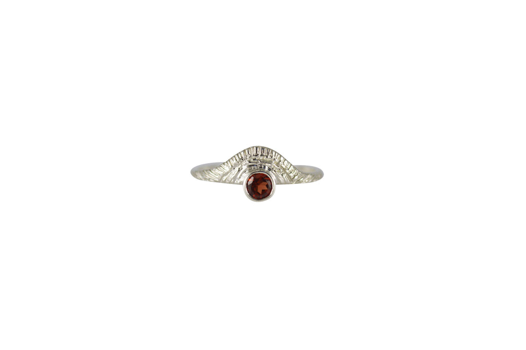 Silver Sun Ring with Red Garnet