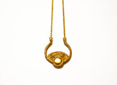 brass and gold fill chain necklace with sun pendant
