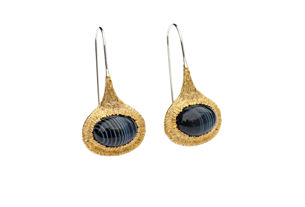 Drip Earrings with black lace agate gemstones