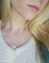 Mountain Necklace on model in silver