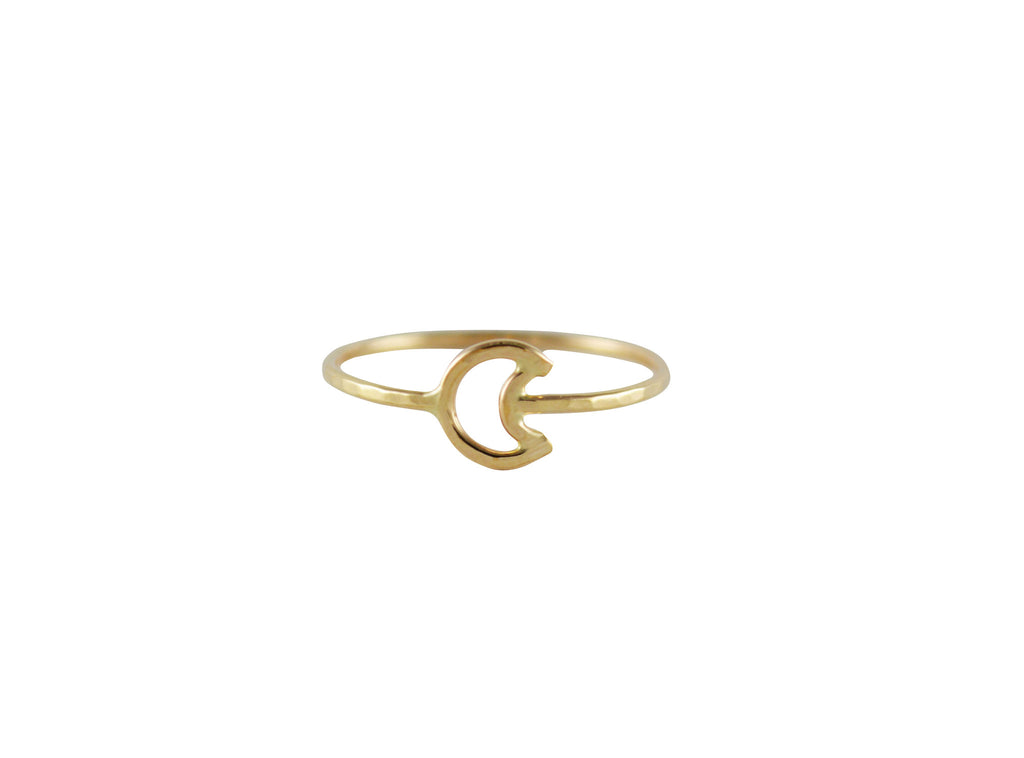 Thin gold crescent moon ring