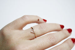 Thin gold triangle ring