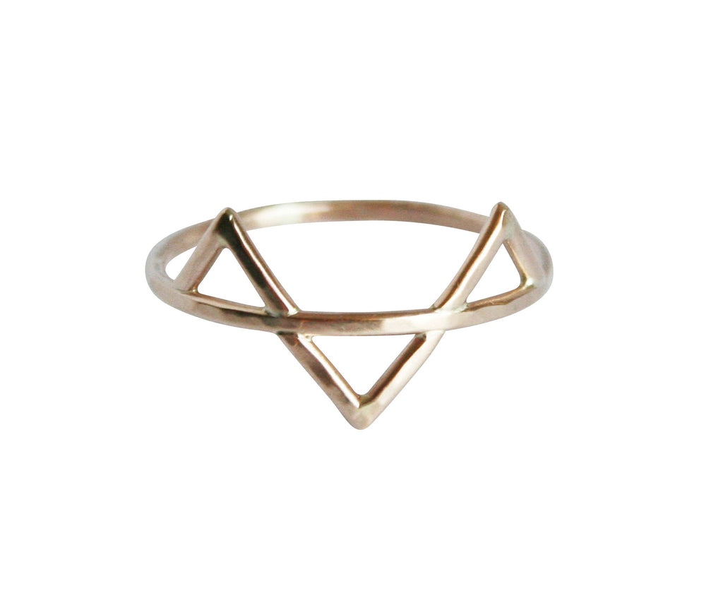 thin gold geometric ring with three spikes