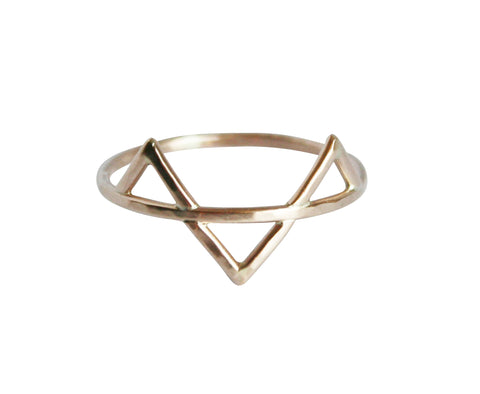 Gold Three Spikes Ring