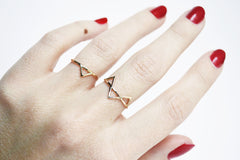thin gold rings with triangles