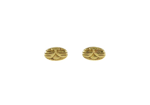 Cat Stud Earrings, Yellow Brass
