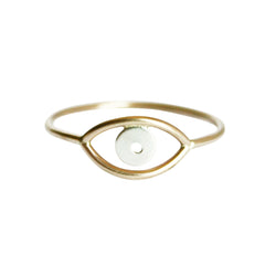 Thin gold evil eye ring
