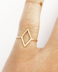 Thin Gold Diamond Shape Ring