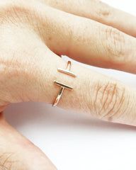 Thin gold open adjustable ring