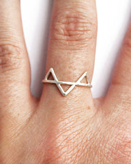 Thin silver ring with three triangles