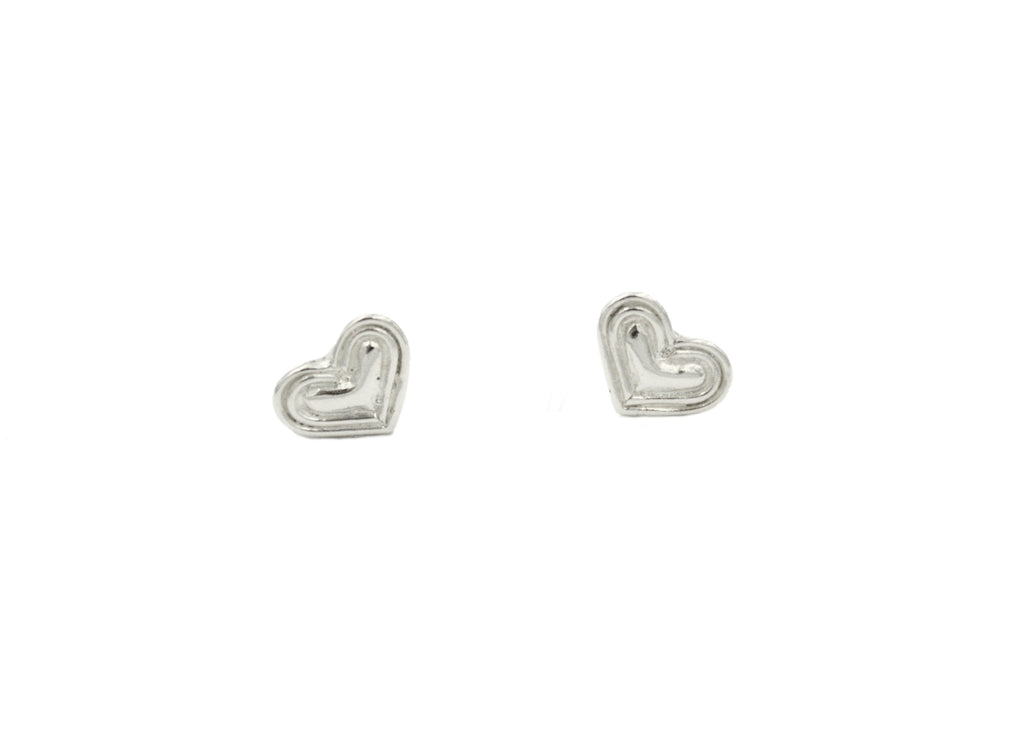 Silver Tone Heart Earrings