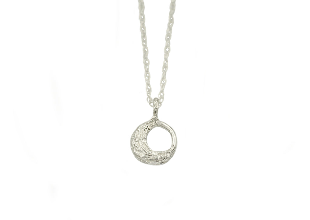 silver tone little moon necklace