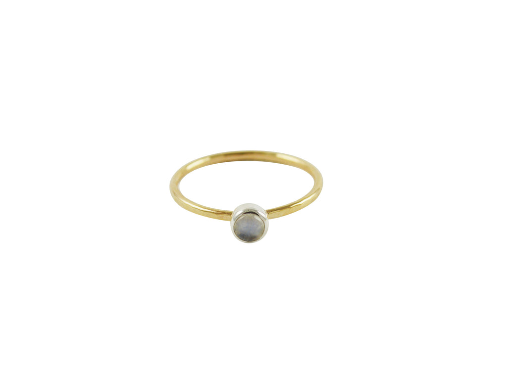 Thin gold stacking ring with rainbow moonstone