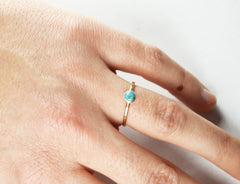 Thin gold turquoise stacking ring